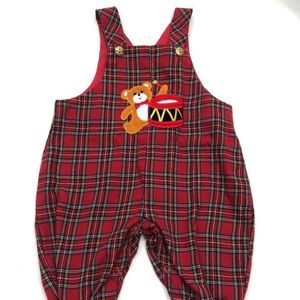 Baby Red Plaid Romper Overalls Christmas Vintage